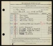 Entry card for Haas, Paul Thomas for the 1941 May Show.