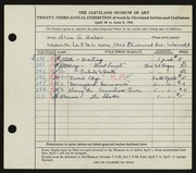 Entry card for Haber, Alice G. for the 1941 May Show.