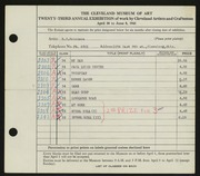 Entry card for Hakanson, R. C. for the 1941 May Show.