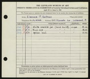 Entry card for Hartman, Eleanor P. for the 1941 May Show.