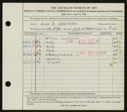 Entry card for Hartman, John B. for the 1941 May Show.