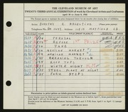 Entry card for Hazeltine, Dorothy R. for the 1941 May Show.