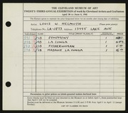 Entry card for Helmuth, Louis W., Sr. for the 1941 May Show.