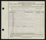 Entry card for Hewett, Helen Bernice for the 1941 May Show.