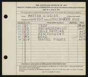 Entry card for Higgins, Martha for the 1941 May Show.