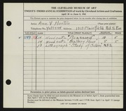 Entry card for Horton, Ann V. for the 1941 May Show.