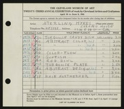 Entry card for Hykes, Sterling V. for the 1941 May Show.