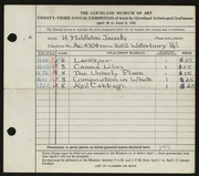 Entry card for Janicki, Hazel for the 1941 May Show.