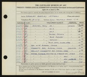 Entry card for Jeffery, Charles Bartley for the 1941 May Show.