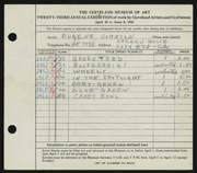 Entry card for Johnson, Eugene for the 1941 May Show.