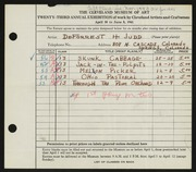 Entry card for Judd, DeForrest H. for the 1941 May Show.