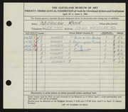Entry card for Kane, Morgan for the 1941 May Show.
