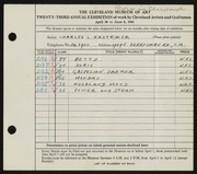 Entry card for Kastriner, Charles L. for the 1941 May Show.