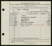 Entry card for Katona, Paul for the 1941 May Show.