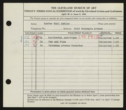 Entry card for Ketler, Lester Karl for the 1941 May Show.