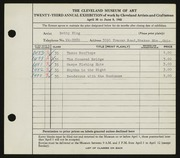 Entry card for King, Betty for the 1941 May Show.