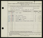 Entry card for Kingman, Alice E. for the 1941 May Show.