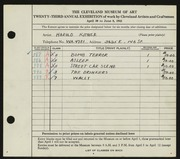 Entry card for Kitner, Harold for the 1941 May Show.