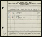Entry card for Krusoe, William A. for the 1941 May Show.