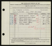 Entry card for Kuhn, Edward H. for the 1941 May Show.