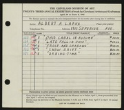 Entry card for Lapka, Albert A. for the 1941 May Show.