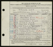 Entry card for Lee, Frank for the 1941 May Show.