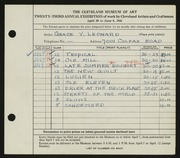 Entry card for Leonard, Grace Verne for the 1941 May Show.