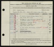 Entry card for Linsey, Martin  for the 1941 May Show.