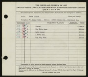 Entry card for Lippay, Frank for the 1941 May Show.