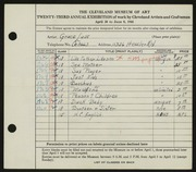 Entry card for Luse, Grace for the 1941 May Show.
