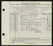 Entry card for MacCreary, Marjorie for the 1941 May Show.