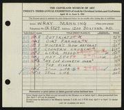 Entry card for Manning, Wray for the 1941 May Show.