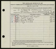 Entry card for Hugh, Kenneth Marcus for the 1941 May Show.
