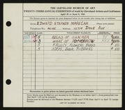 Entry card for Marecak, Edward for the 1941 May Show.