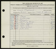 Entry card for Martinek, Louis P. for the 1941 May Show.