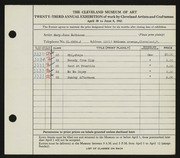 Entry card for Matheson, Mary Jane for the 1941 May Show.