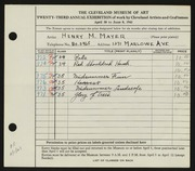 Entry card for Mayer, Henry M. for the 1941 May Show