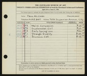 Entry card for McClean, Clara for the 1941 May Show.