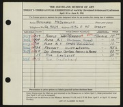 Entry card for McDermott, Bernard for the 1941 May Show.