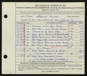 Entry card for Miller, Carol Hagaman for the 1941 May Show.