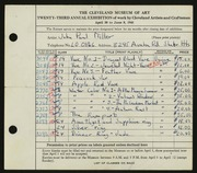 Entry card for Miller, John Paul for the 1941 May Show.