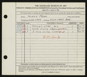 Entry card for Mink, Norve for the 1941 May Show.