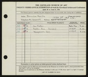 Entry card for Neville, Blanche for the 1941 May Show.