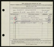 Entry card for Newhauser, Herman for the 1941 May Show.