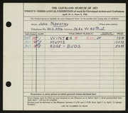 Entry card for Novotny, John for the 1941 May Show.