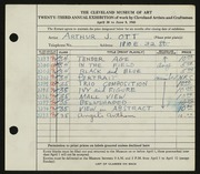 Entry card for Ott, Arthur J. for the 1941 May Show.