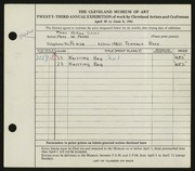 Entry card for Parks, Mary W, and Stitt, Mary McKee for the 1941 May Show.