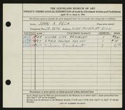 Entry card for Peca, John A. for the 1941 May Show.
