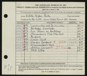 Entry card for Peck, Edith Hogen for the 1941 May Show.