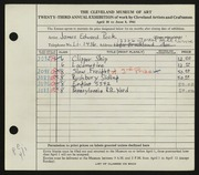Entry card for Peck, James Edward for the 1941 May Show.
